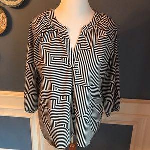 Milano Black & White Stripe 3/4 length Sleeves Top